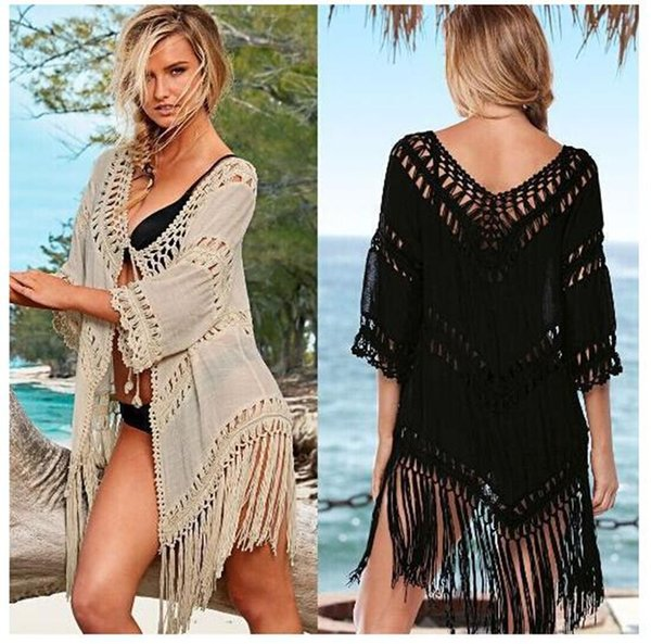 Amazon explosion hand hook stitching tassel solid color knit hollow sunscreen bikini blouse P713