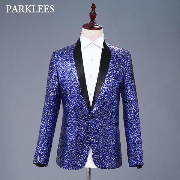 Shiny Silver Blue Sequins Blazer Jacket Men Scialle Risvolto One Button Mens Dress Suit Stage Prom Cantante DJ Costumi Blazer di brillanti