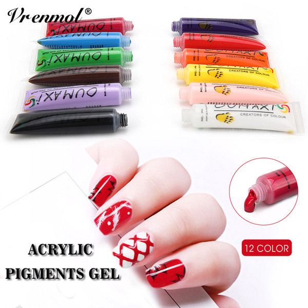 Оптовая 12 цветов Nail Art Pen 3D живопись Draw краска пигмент акриловые наборы украшения УФ-гель Draw дизайн DIY карандаш польский набор