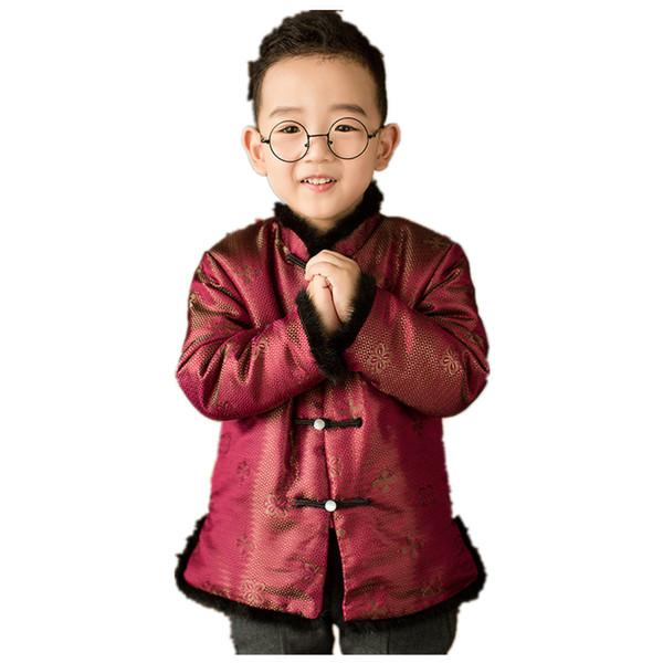 Rouge Enfants Manteau Costume Nouvel An Chinois Bébé Garçons Tang Vêtements Enfants Manteaux Tenues Garçon Outwear Cardigan Tops Cheveux De Vison Doux 4-12