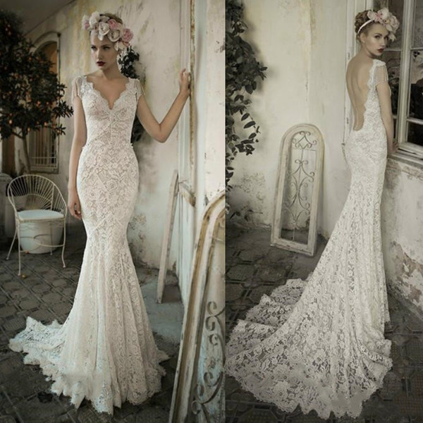 Sexy Ivory Lace Mermaid Wedding Dresses Sleeveless Sheer V Neck Backless Court Train Long Bridal Gowns Beach Boho Wdding Dress Plus Size