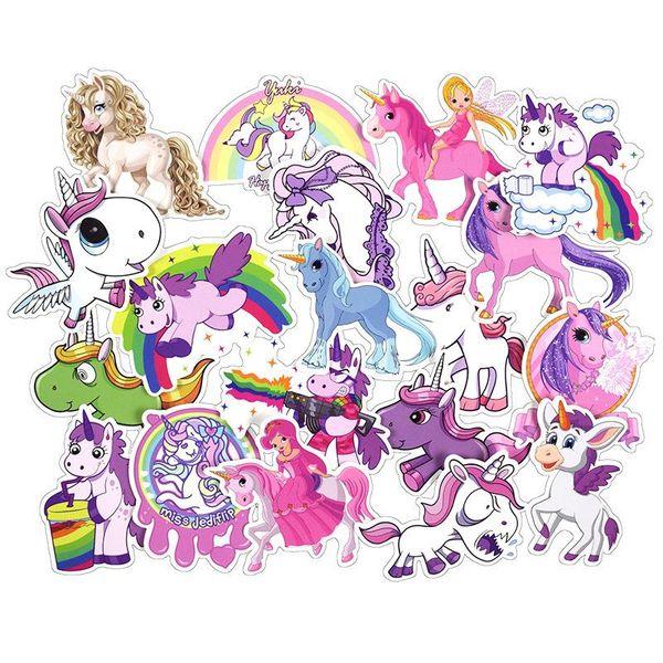 Adesivi per unicorno carino Adesivi murali per poster Camere Laptop Skateboard Deposito auto Bambini Adesivo per cartoni animati fai da te Adesivo decorativo per auto 001