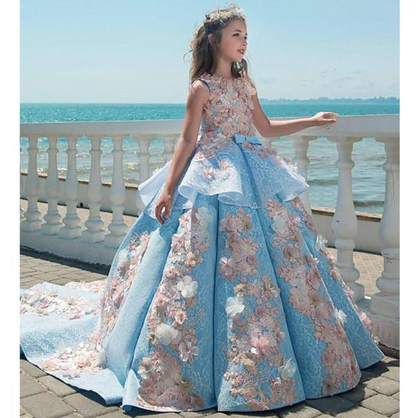 2019 azul rendas meninas pageant vestidos de baile vestido de festa de casamento de aniversário crianças vestidos de festa de princesa vestidos de criança princesa