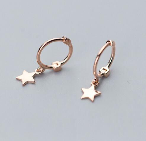 Small 925 Sterling Silver Hanging Stud Earrings For Women Star Cross Charm sterling-silver-jewelry Small Studs Earring