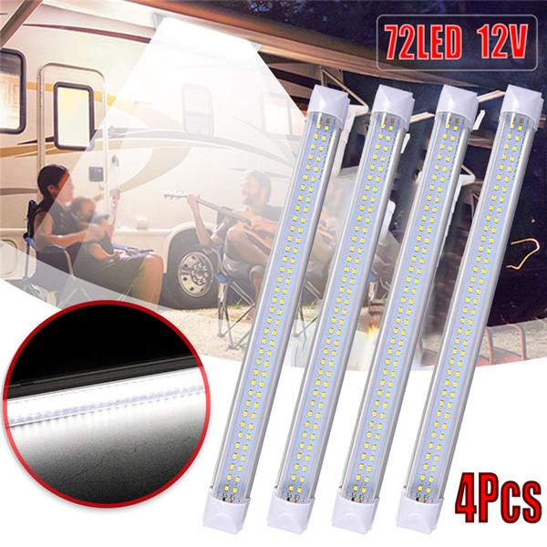 4pcs 72 led interior light strip bar car reading lights van bus caravan on/off switch 12v 12 volt - from $34.57