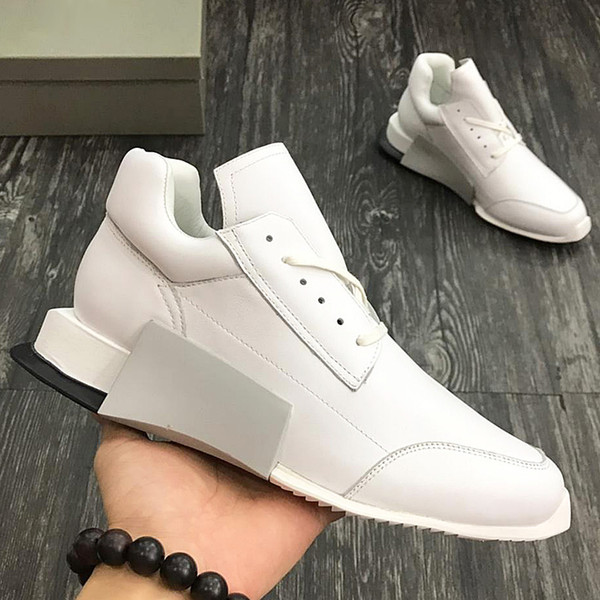 2018 American luxury brand trend men's sports shoes with exquisite outsole leather strap design high-grade outdoor casual running qe