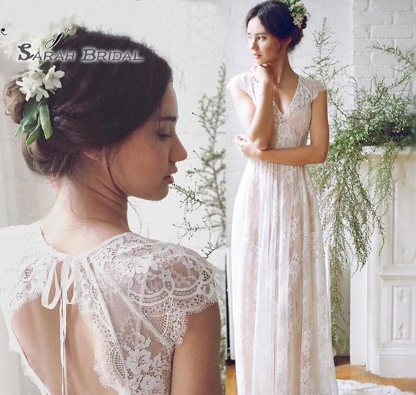 top popular 2019 Vintage Lace A-Line Boho Bride Dress Beach Sexy Sleeveless Backless Evening Wear Formal Gown High-end Wedding Boutique 2020