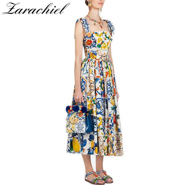 Moda Runway Verão Vestido Novo Arco das Mulheres Spaghetti Strap Backless Azul e Branco Porcelana Floral Imprimir Vestido Longo