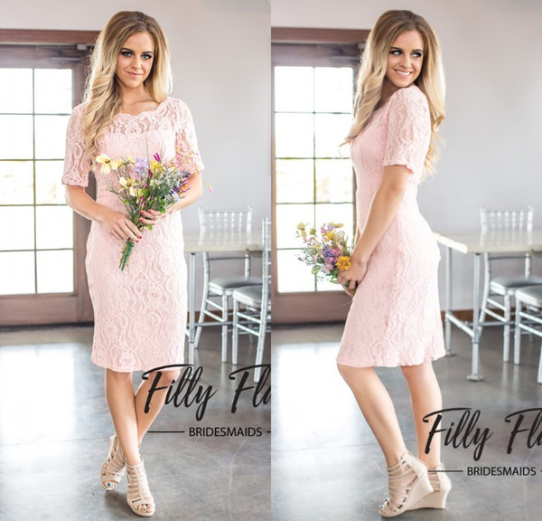 2019 Light Pink Short Lace Bridesmaid Dresses Short Sleeves Sheath Maid of Honor Gowns Beach Wedding Party Prom Dress