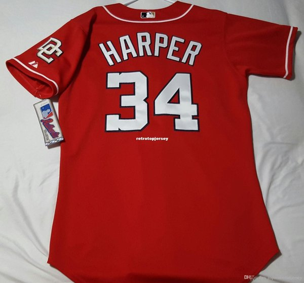 Majestic WASHINGTON barato # 34 Bryce Harper Jersey Mens costurado SHARP! camisola do basebol Atacado grande e TAMANHO Alto XS-6XL