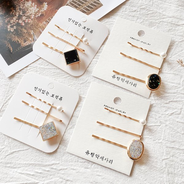fashion new 1set acrylic rectangle oval hairpins vintage alloy pearl rhinestones hair clips women girls hair accessories