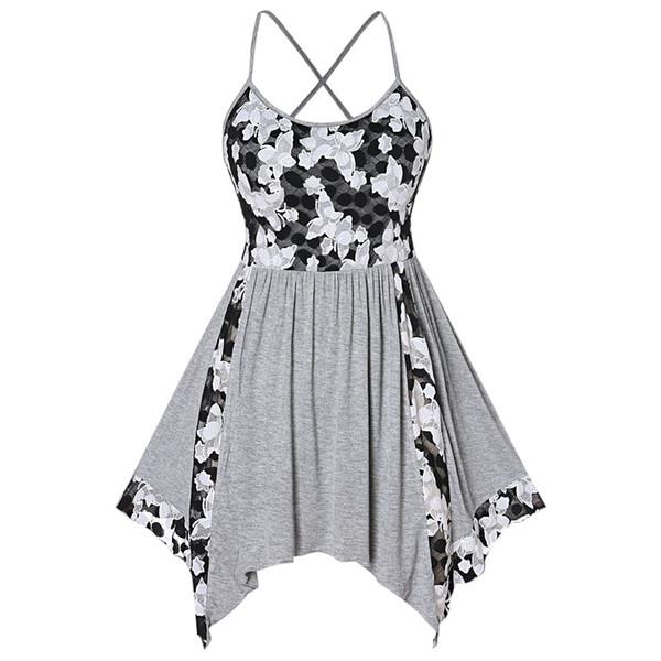 Wipalo Floral Lace Insert Plus Size Tank Top Criss Cross Handkerchief Asymmetrical Summer Tank Tops Sleeveless Women Clothes Y19042801