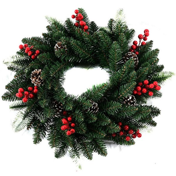 15.7'' Christmas Wreath Door Decoration Artificial Foam Berry Wreath With Natural Pine Cone Pendant Wall Decor
