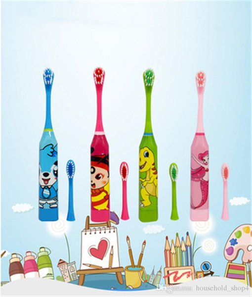 top popular Children Electric Double-sided Tooth Brush Cartoon Pattern Toothbrush Electric Teeth Brush For Kids with 2pcs Replacement Head 2021