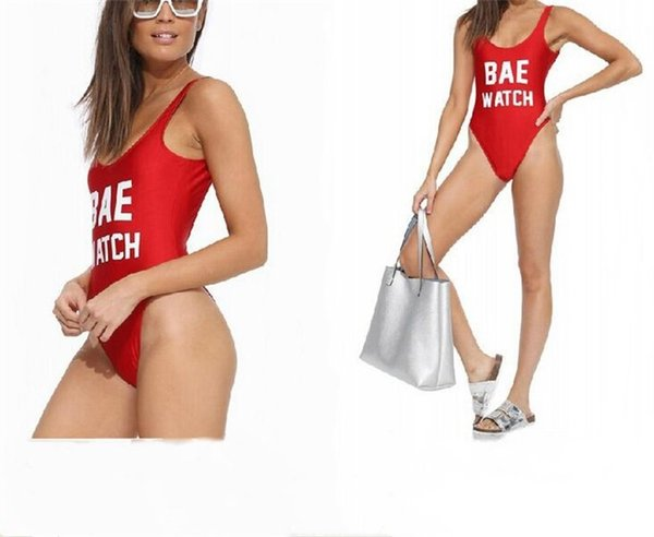 Europe And America Conjoined Bikini Set Ladies Summer Beach Swimming Suit BAE WATCH Letter Printing Swimsuit Hot Sale 18xzI1