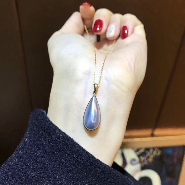 Luxurious nature pearl drop shape pendant necklace and 18k real gold chain Korea style women jewelry gift with all packing PS6021