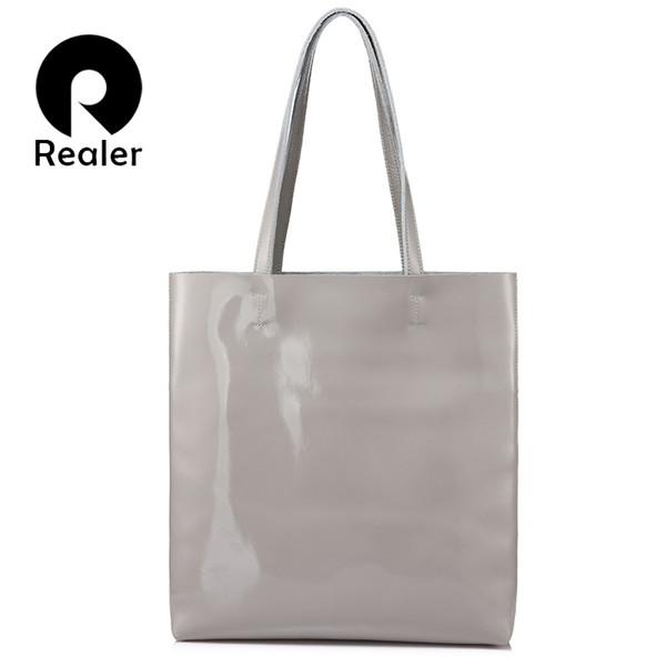 REALER large shoulder bag female soft patent leather tote bag for women handbags ladies messenger bags scratch resistant Gray #210691
