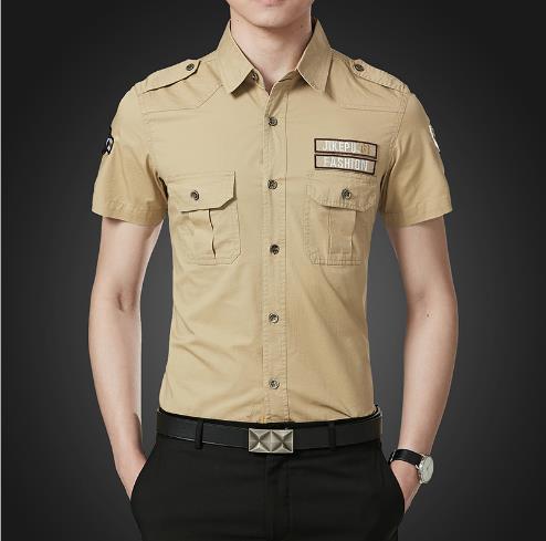 5XL мужские летние сплошной цвет рубашки карманы превратить Dowen Clooar с коротким рукавом мода Homme одежда мода повседневная одежда