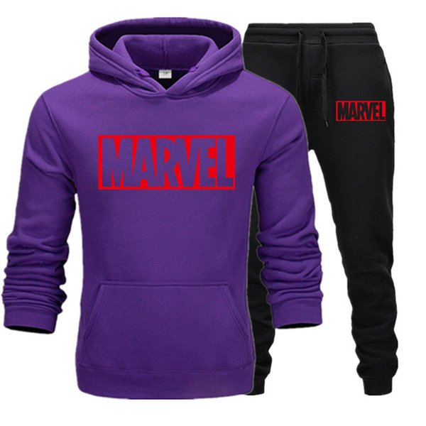 2019 New Men Tracksuit Set Winter Fleece Hood Print Marvel Jacket+Pants Sweatshirts Male 2 Piece Set Hoodies Sporting Suit Coat T9