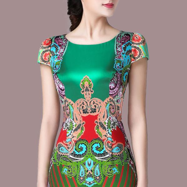 Nouvelle 2018 été mode, plus la taille des femmes en soie robe avec des manches courtes crayon col rond longue tenue décontractée femme mince robe 10J