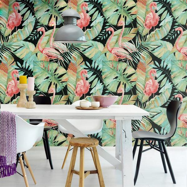 İskandinav minimalist şık tropik yağmur ormanı flamingo duvar kağıdı oturma odası yatak odası kanepe TV enerjik arka plan duvar duvar