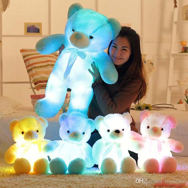 4 Color 30cm 50cm LED Colorful Glowing Teddy Bear Giant shell giant teddy toy Valentine's Day holiday gift bear Christmas Plush Toy 11