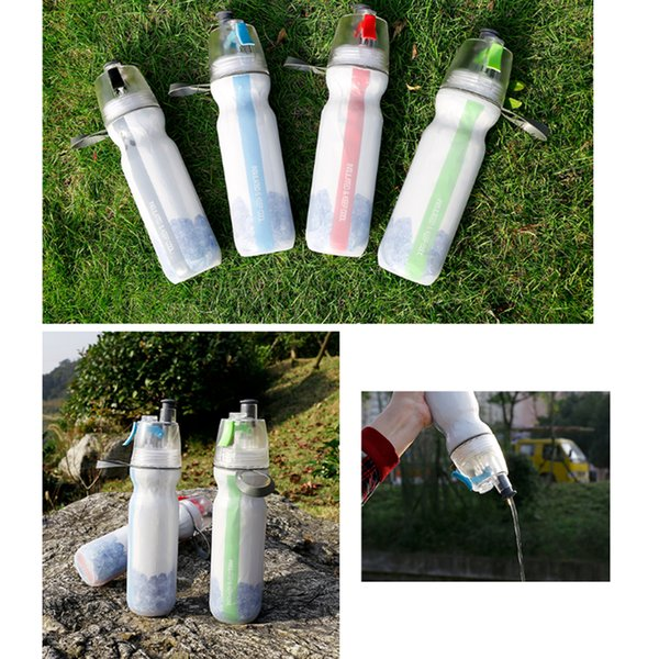 Ciclismo al aire libre Correr Bicicleta Botella de bebida de agua Mist Spray Portátil Deportes al aire libre Ciclismo Botella de agua Taza 500ml