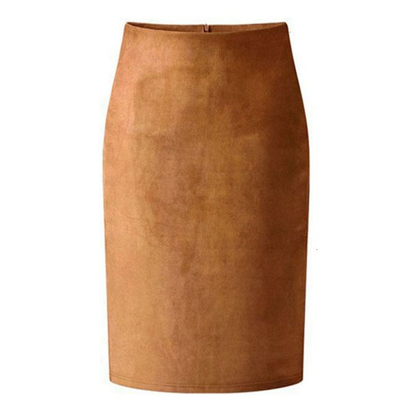 Designer de Inverno Pencil Skirt Street High Mulheres Suede multi lápis da cor saia de Midi 2019 Tubo Primavera Outono Inverno Básico Bodycon Saias