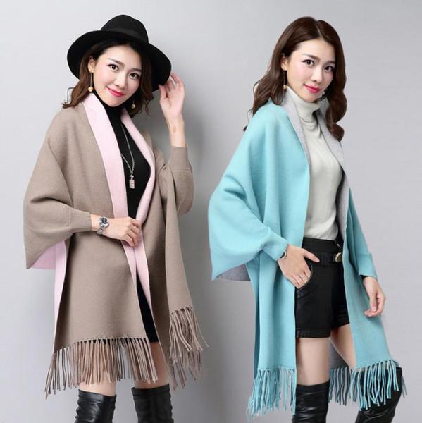 소매 따뜻한 스카프 여성 pashmina의 숄 랩은 두꺼운 고체 가을 겨울 양면 코트 캐시미어