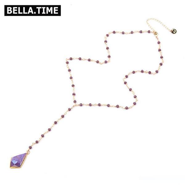 Longue Boho naturel Druzy Pendentif de pierre pour les femmes Colliers d'or réglable couleur de fil de cuivre Wrap cristal collier de perles NKS211