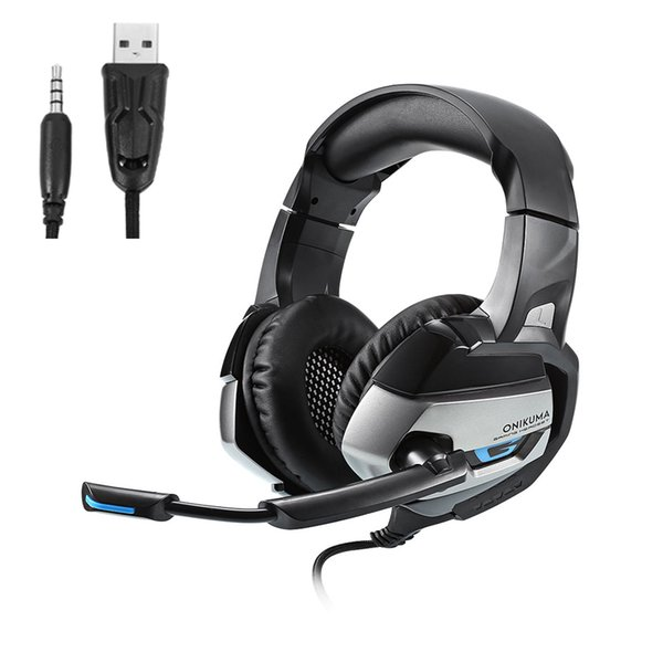 ONIKUMA K5 Stereo-Gaming-Headset 2,2 m Kabel LED-Licht Bass Over-Ear-Kopfhörer mit Mikrofon für Computerspiel