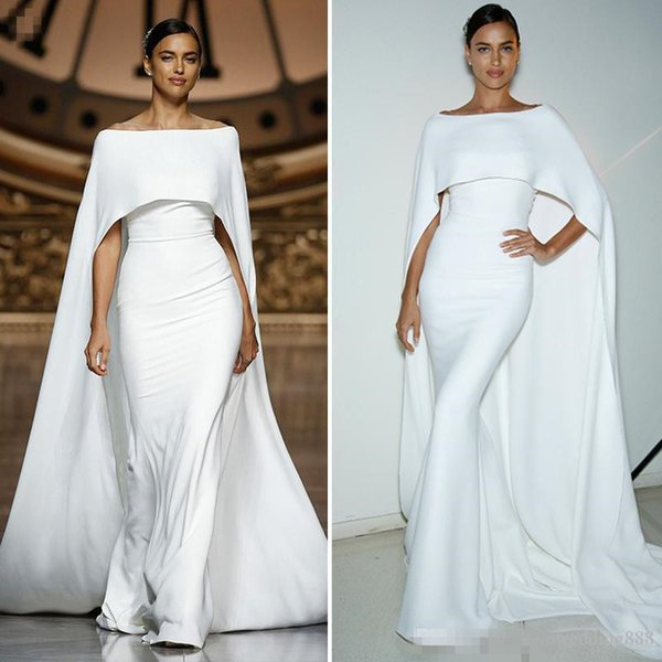 Simple Elegant White Mermaid Evening Dresses With Cape Long Satin Women's Pageant 2018 Formal Party Dress For Prom Wear