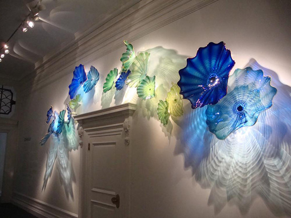 best selling 100% Hand Blown Lamp Decorative Luxury Flower Sconce Gallery Wall Art Elegant Blue Shade Murano Glass Plates
