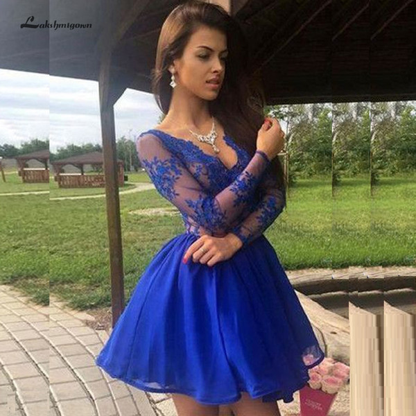 Lakshmigown Fairy Short Homecoming Dresses V Neck Vintage Lace Mini Royal Blue Prom Dresses Long Sleeve Vestidos de Gala 2019