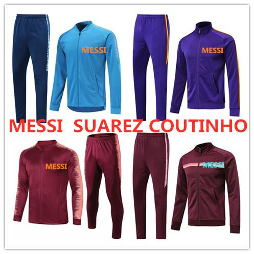 Yeni 2019 MEssi futbol eşofman ceket 19 20 Chaqueta de fútbol SUAREZ DEMBELE INIESTA PIKA COUTINHO futbol eşofman ceket