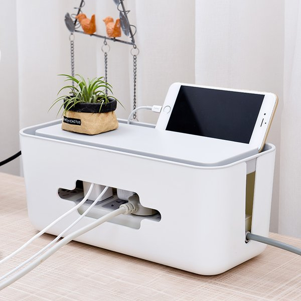 Safety Socket Power Line Container Power Cord Cables Phone Storage Organizer Case Box Charging Wire Tidy Organizer Desktop