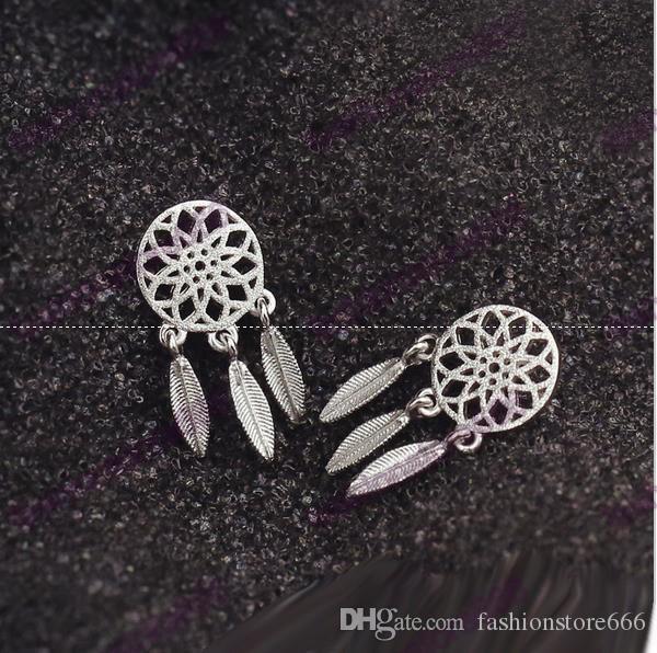 Moda 925 gümüş Bohemya Milliyet Hint Tüy Rüya yakalayıcı Dreamcatcher saplama Küpe İçin Kadınlar Güzel Takı