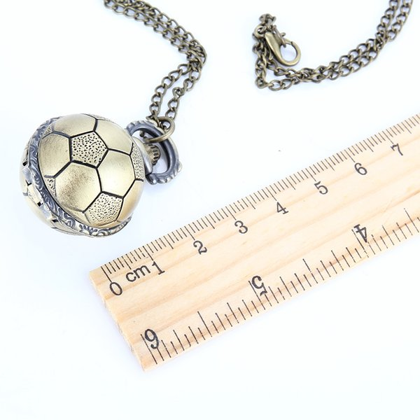 Retro Soccer Ball Shape Bronze Round Quartz Pocket Watch with Chain Necklace Jewelry Gifts NFE99