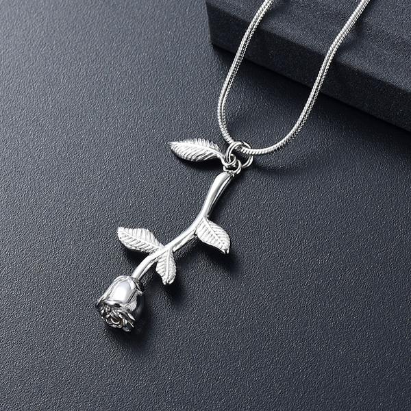 IJD10034 la flor de Rose de la hoja de la cremación de joyería de plata en color Memorial Urna collar de seres queridos Artículos cenizas del recuerdo de regalo de las mujeres