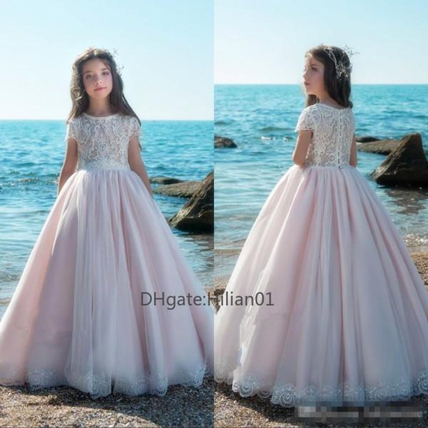 Новая мода цветок девочки платья O-образным вырезом без рукавов кружева аппликация для девочек Первое причастие партии Вечерние платья 2020