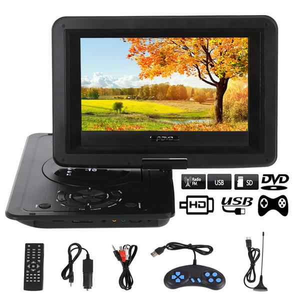 Mini lettore DVD portatile da 10.1 pollici TV HD Home Car-DVD-Player VCD Lettore CD MP3 Gioco 16: 9 Ruota schermo LCD Spina UE con telecomando