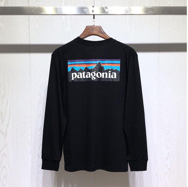 Hommes patagonia 19SS T-shirts Automne Spring Mountain imprimé Fashion Tops manches longues