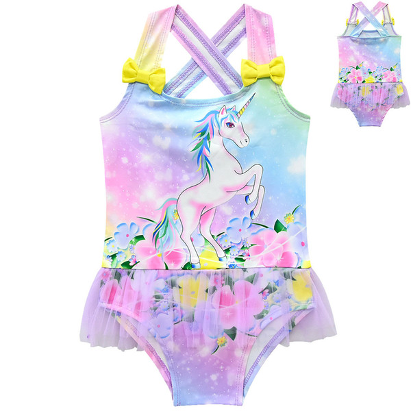 Unicornio infantil traje de baño verano 2019 traje de baño bebé Bikini Kids One Pieces traje de baño 3 colores C6486