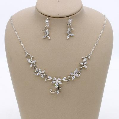 Simple zircon bride jewelry set / flower vine bridal earrings necklace wedding dress accessories / into the store to choose more styles
