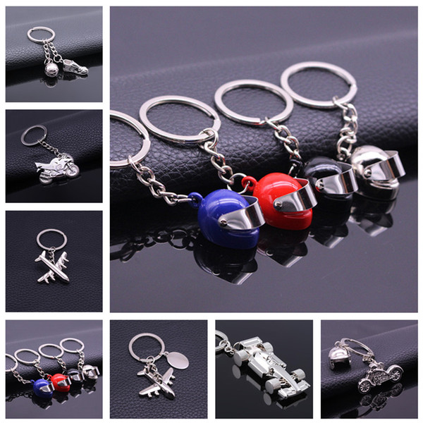 Alloy Key chain Cool Creative keychains 4 Colors Simulation Model Motorcycle Helmet Key Chain Car Keychain Free Shipping