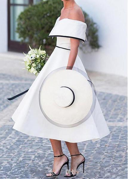 Vintage Tee Länge kurze Brautkleider aus der Schulter schwarz und weiß A-Linie der 1950er Jahre Brautkleider informelle Brautkleid