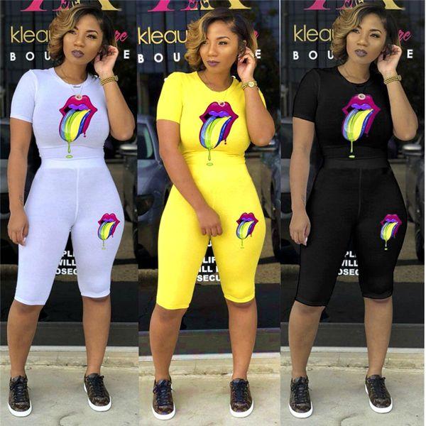 Femmes 2 pièces ensemble survêtement d'été vêtements casual bouche imprimer manches courtes tee top skinny midi shorts fashion fitness outfit