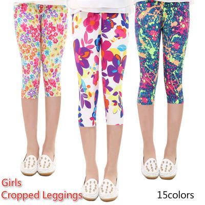 3/4 Length Girls Leggings Floral Print Silky Sport Yoga Pants Summer Girls Pants Children Skinny Pants Kids Clothing Baby Girl Clothes
