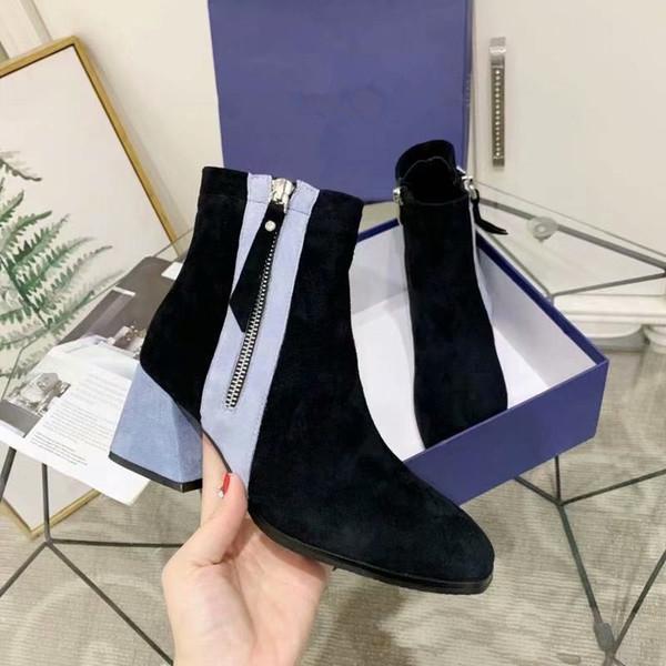 Yeni buzlu süet tarzı yönlü yan fermuar tıknaz topuk Martin kadın ayak bileği çizmeler