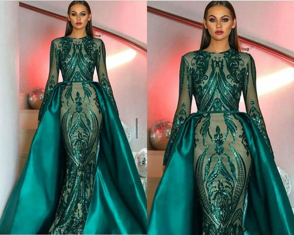 GiayMus Amazing Prom Dresses 2018 mangas largas con lentejuelas de encaje verde oscuro tren desmontable Satin Tail vestidos de baile Vestidos de fiesta formal